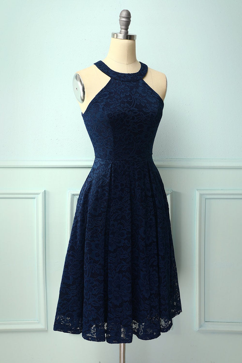 Load image into Gallery viewer, Navy Halter Lace Midi