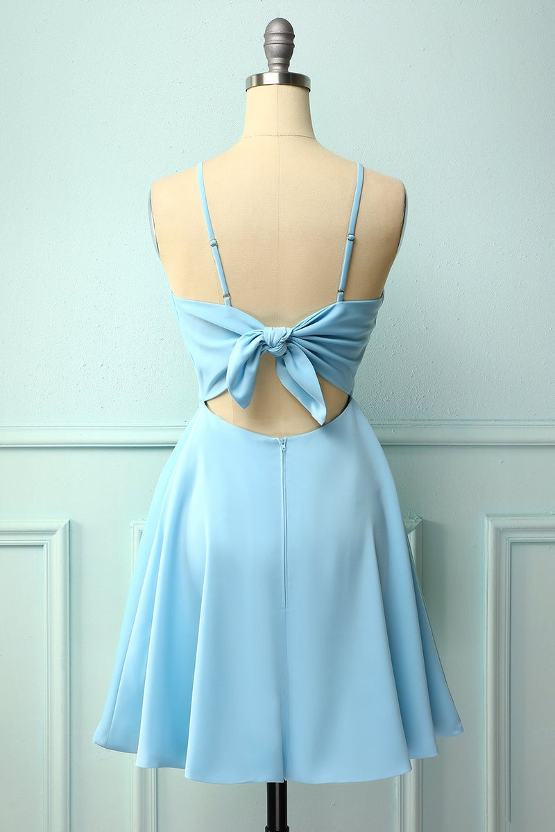 Load image into Gallery viewer, Blue Open Back Cocktail Dress