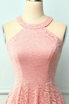 Blush Halter Lace Midi Dress