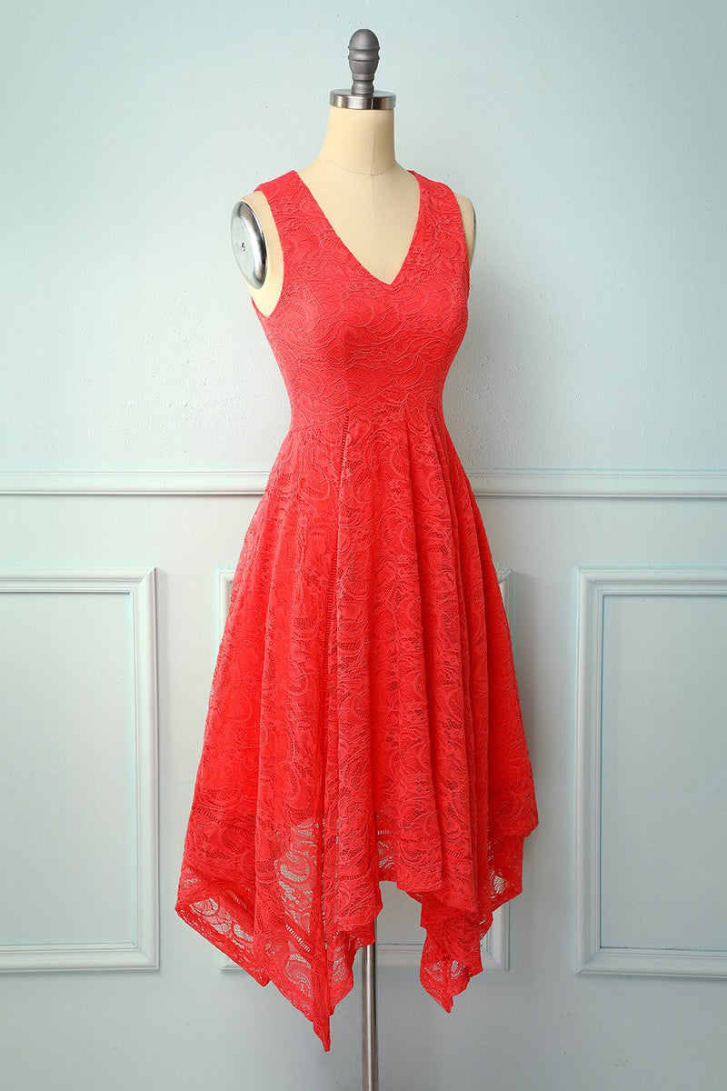 Load image into Gallery viewer, Asymmetrical Red V-neck Lace Dress