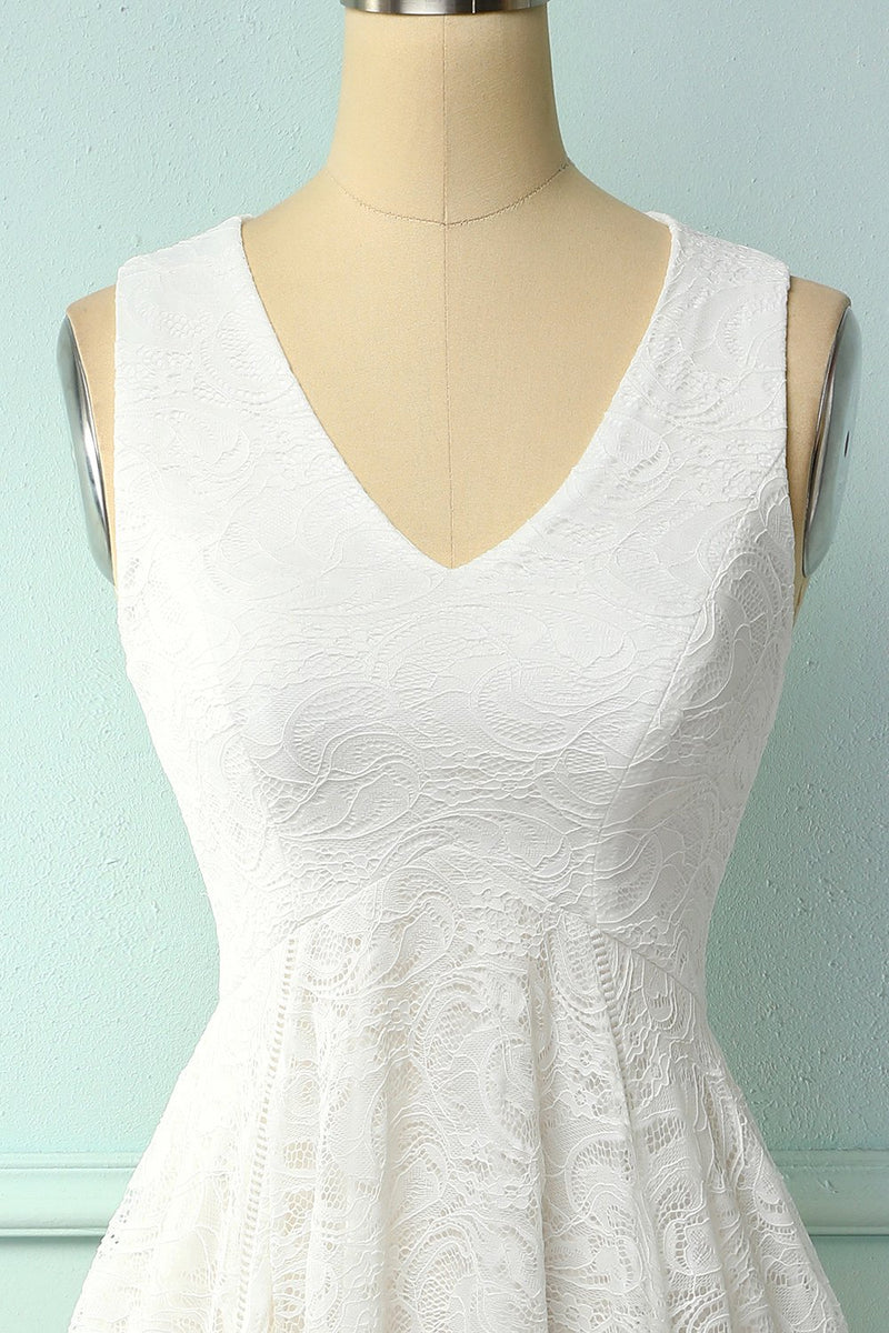 Load image into Gallery viewer, Asymmetrical White V-neck Lace Dress