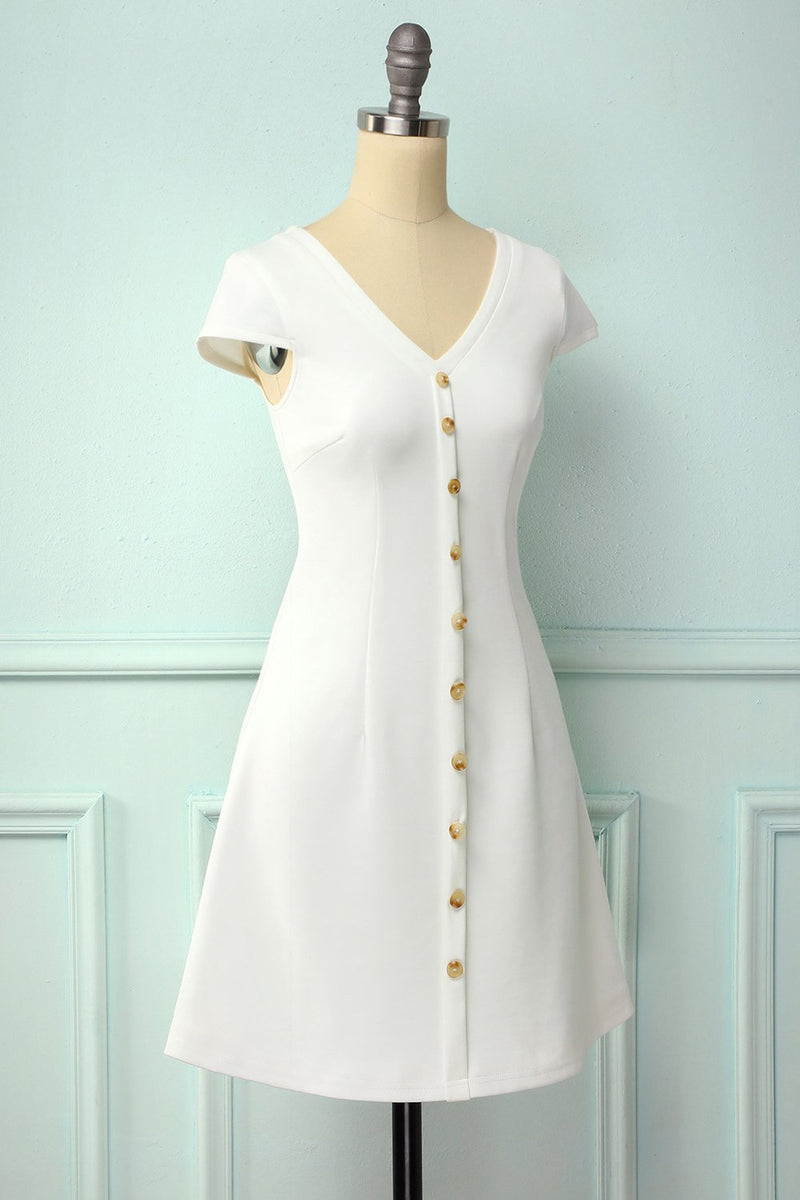 Load image into Gallery viewer, White Button Shift Dress