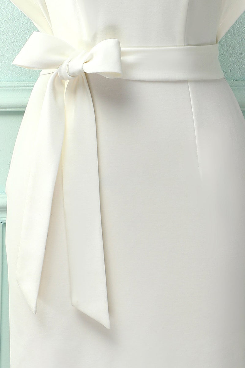 Load image into Gallery viewer, White Bodycon Dress With Sash