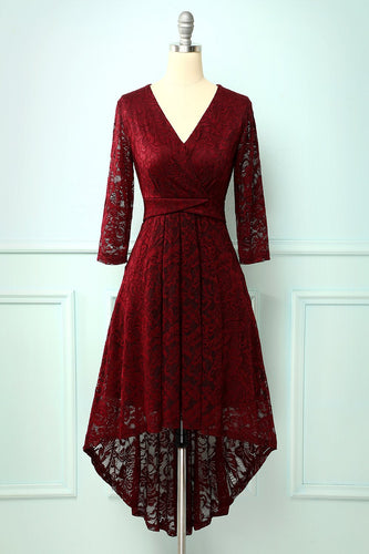 Burgundy High Low Lace