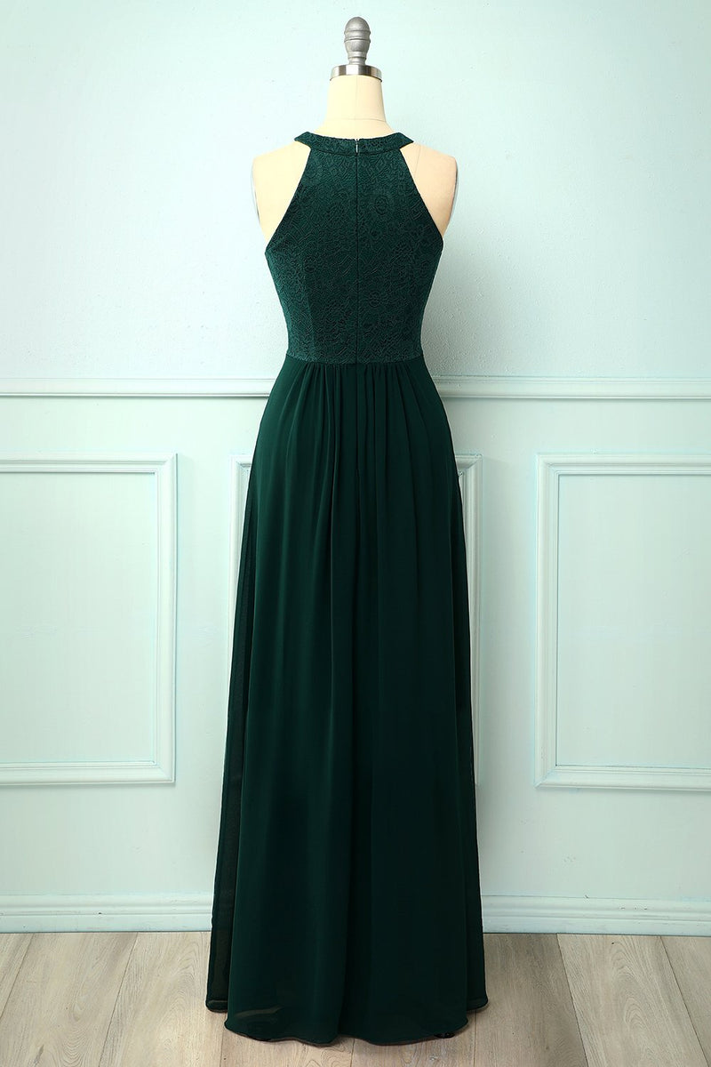 Load image into Gallery viewer, A Line Green Chiffon Long Prom Dress
