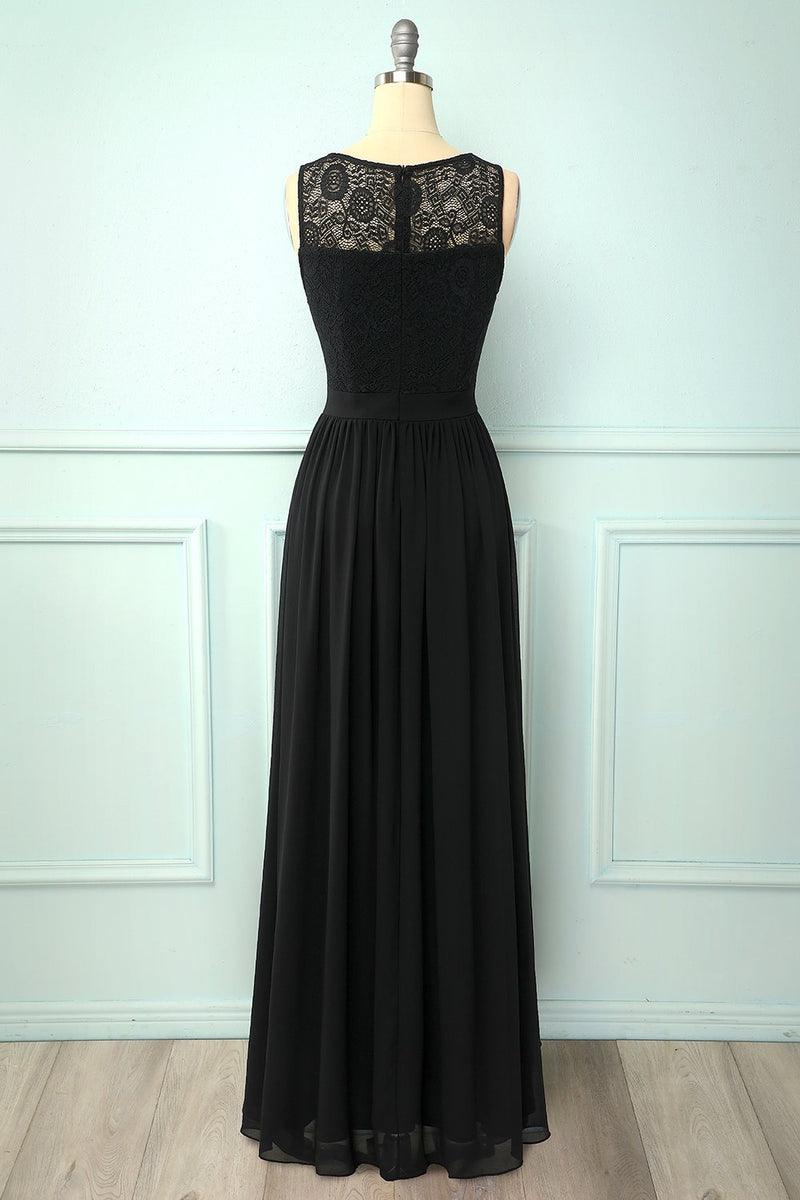 Load image into Gallery viewer, Black Lace Long Formal Dress
