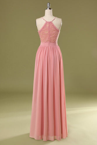 Simple Pink Long Bridesmaid Dress