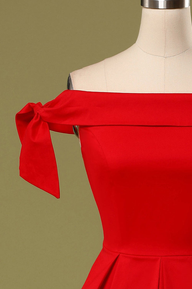 Load image into Gallery viewer, Red Off the Shoulder Party Dress