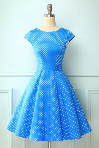 Polka Dots Blue 1950s Swing Dress