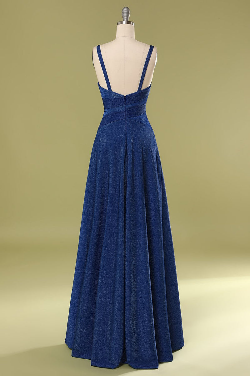 Load image into Gallery viewer, Glitter Royal Blue Long Prom Dress