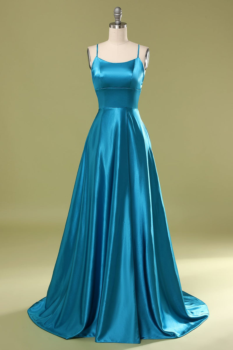 Load image into Gallery viewer, Blue Satin Prom Dress