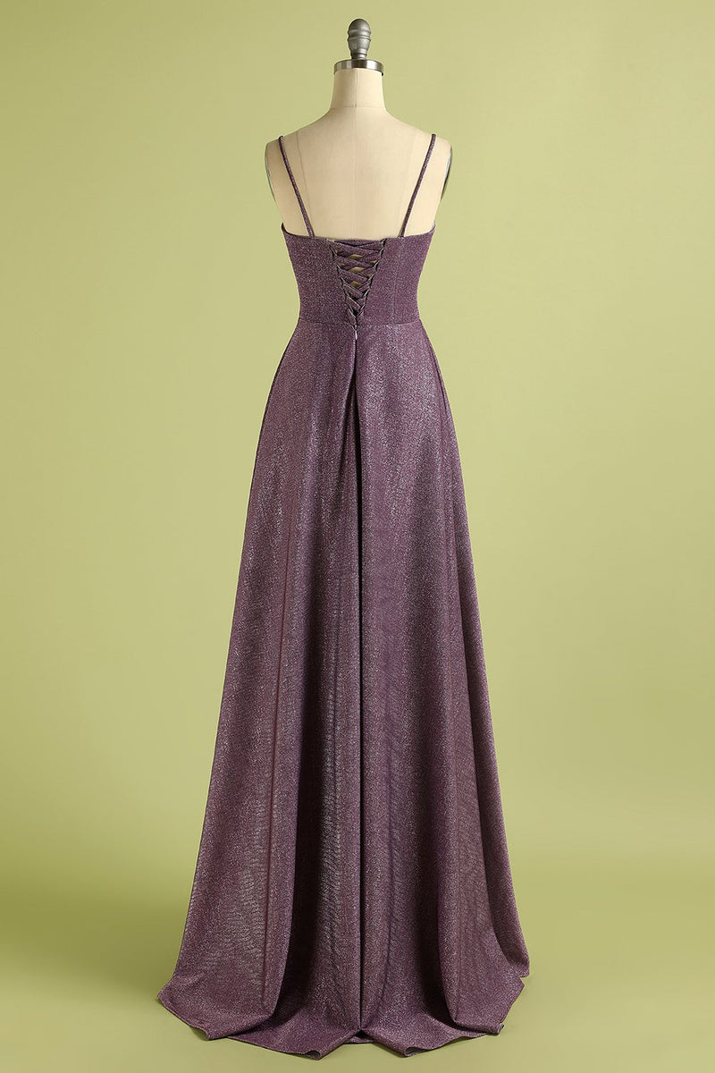 Load image into Gallery viewer, Grape Lace Up Long Satin Prom Dress