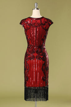 1920s Burgundy Sequins Flapper Dress