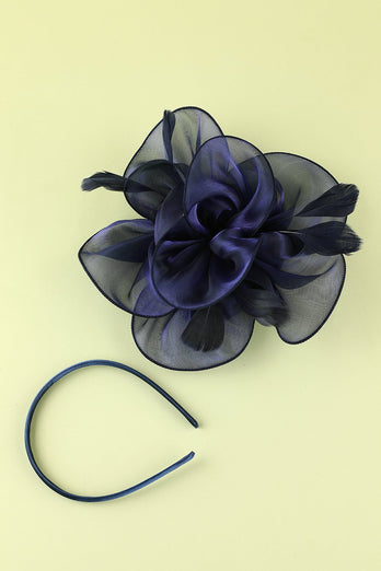 1920s Blue Organza Beaded Headband