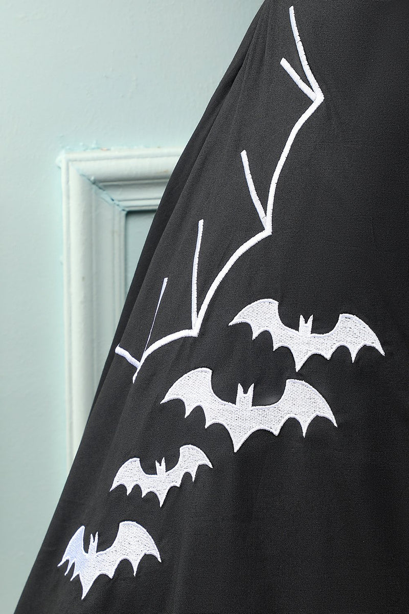 Load image into Gallery viewer, Black 1950S Bat Cape Swing Dress