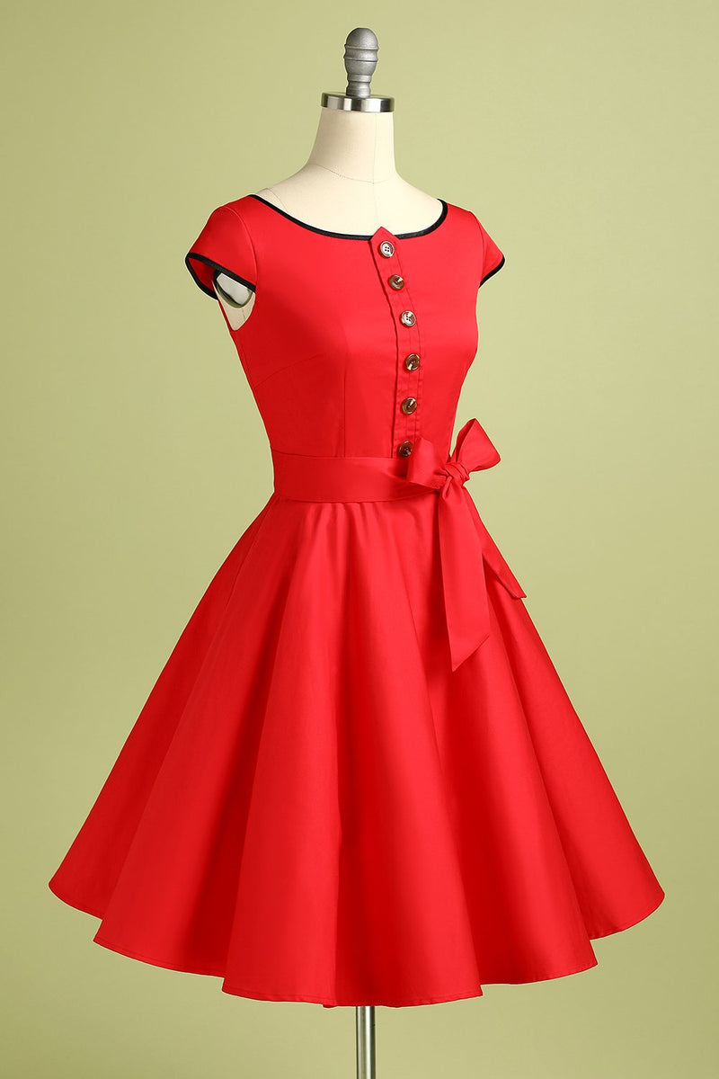 Load image into Gallery viewer, Button Red Retro Style Dress