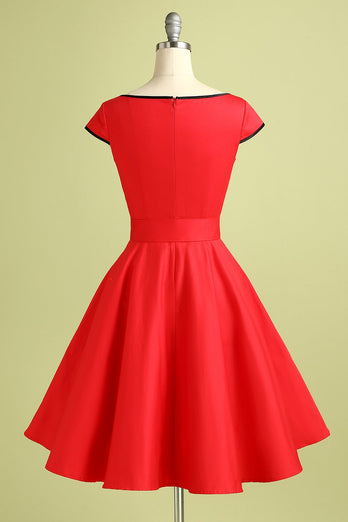 Button Red Retro Style Dress