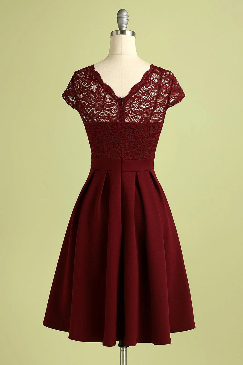 Load image into Gallery viewer, Burgundy Vintage Lace Dress
