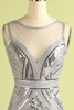 Load image into Gallery viewer, Grey Sequin Long Tulle 1920s Dress