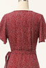Load image into Gallery viewer, Summer Burgundy Print Wrap Casual Dress