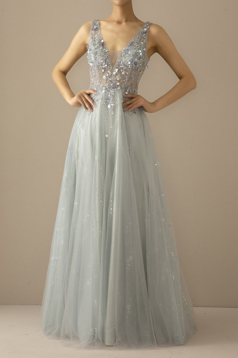 Load image into Gallery viewer, Long A Line Tulle Grey Blue Evening Dress