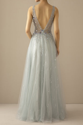 Long A Line Tulle Grey Blue Evening Dress