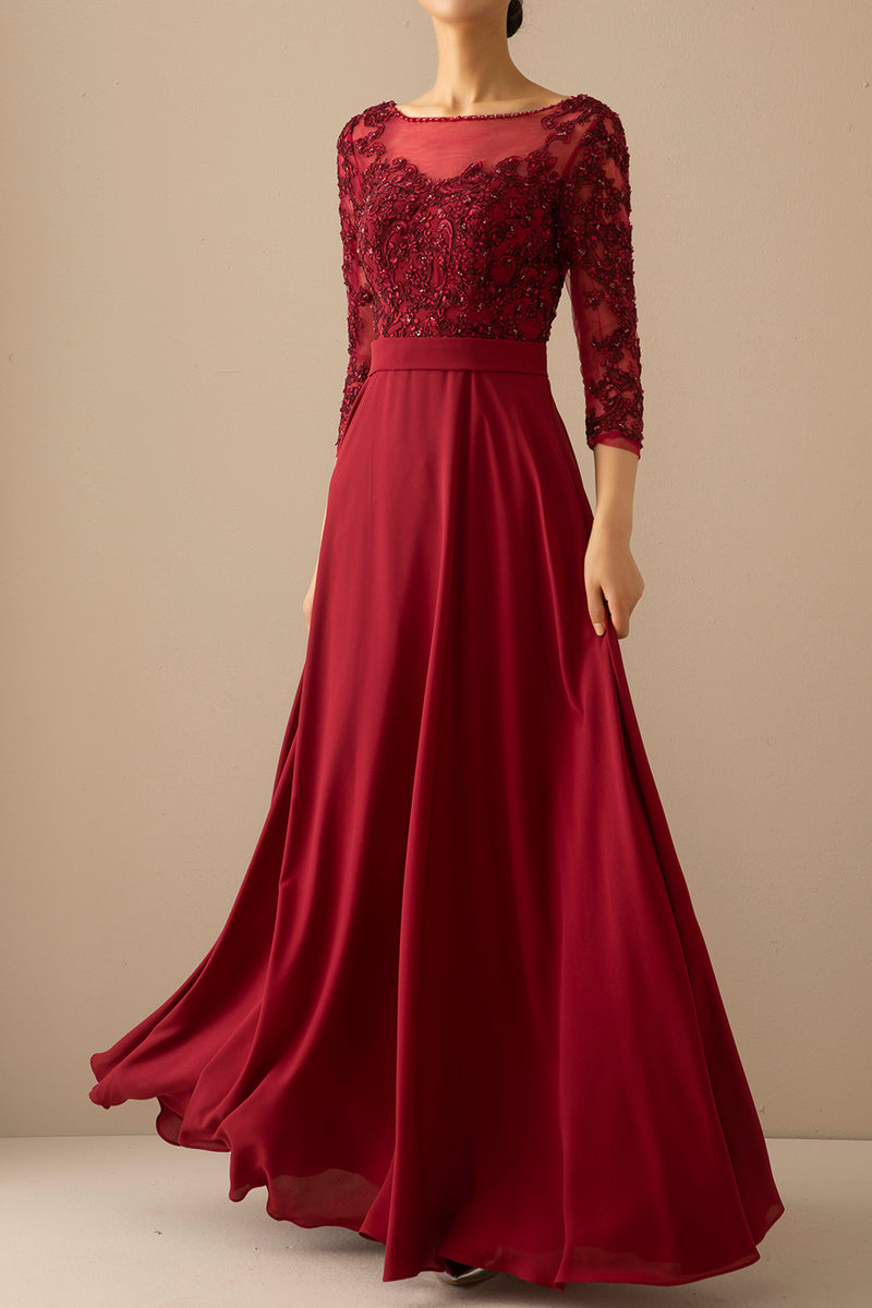 Load image into Gallery viewer, Burgundy Mother of the Bride Dress With Sleeves