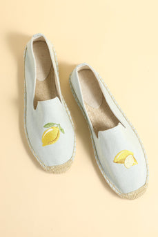 Lemon Embroidery Literary Canvas Shoes