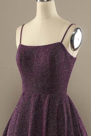 Charming A Line Purple Prom Dress with Split Front