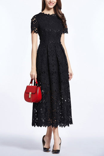 Black 3D Lace Midi Dress