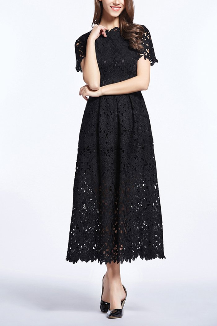 Load image into Gallery viewer, Black 3D Lace Midi Dress
