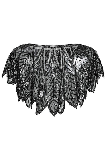 1920s Sequin Black Women Cape