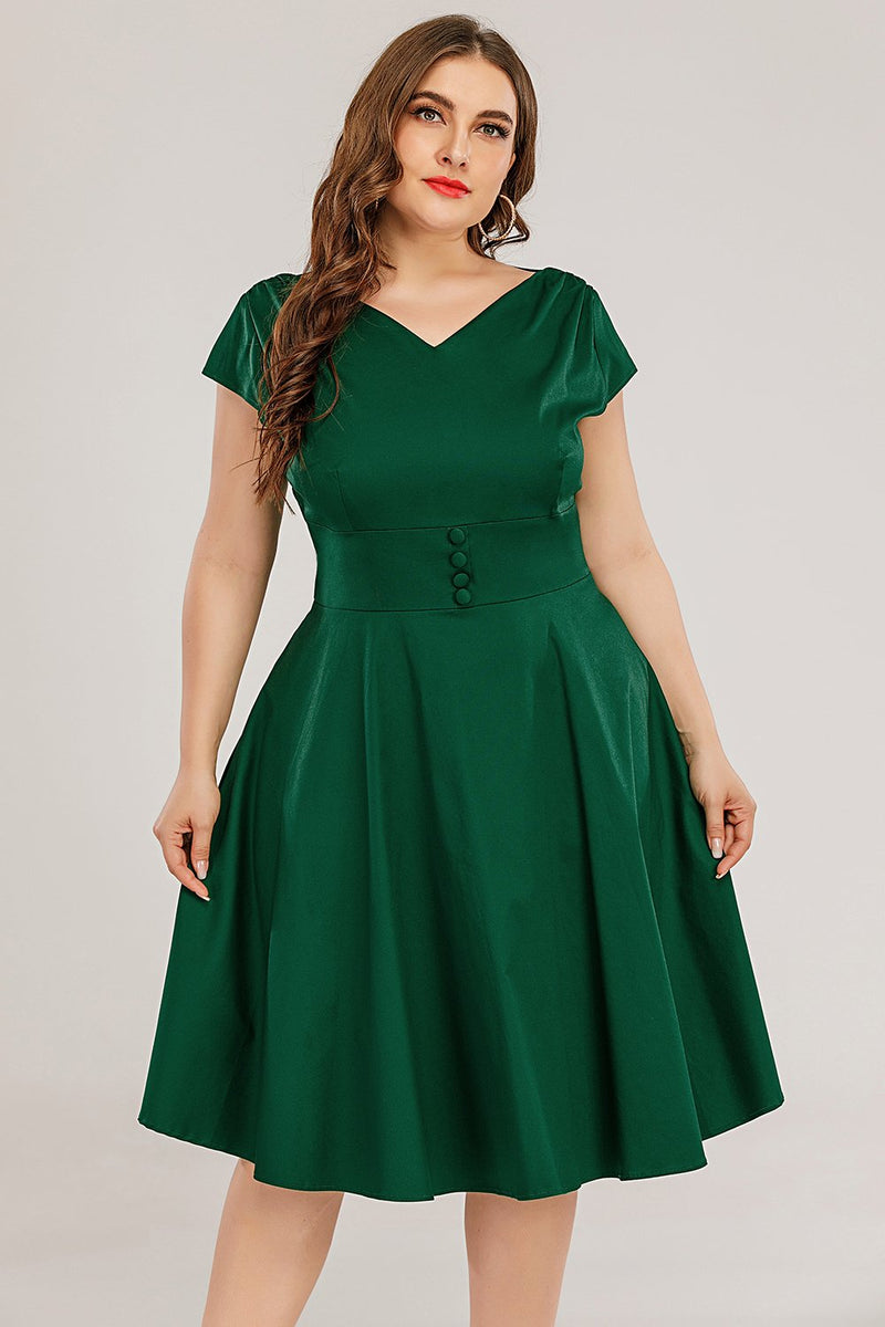 Load image into Gallery viewer, Plus Size Green Solid Dress