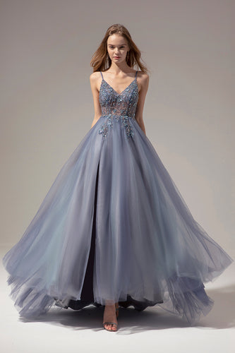 V-neck Long Prom Dress With Slit