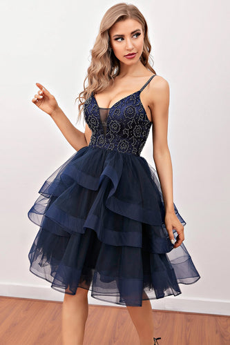 Navy Beaded Short Cocktail Dress
