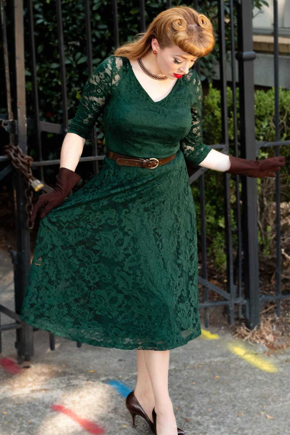 Exclusive Green Lace Midi Dress