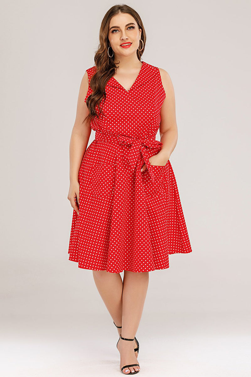 Load image into Gallery viewer, Plus Size Red Swing Dress