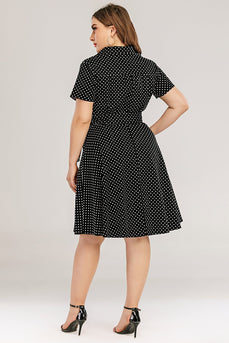 Plus Size Polka Dots Swing Dress