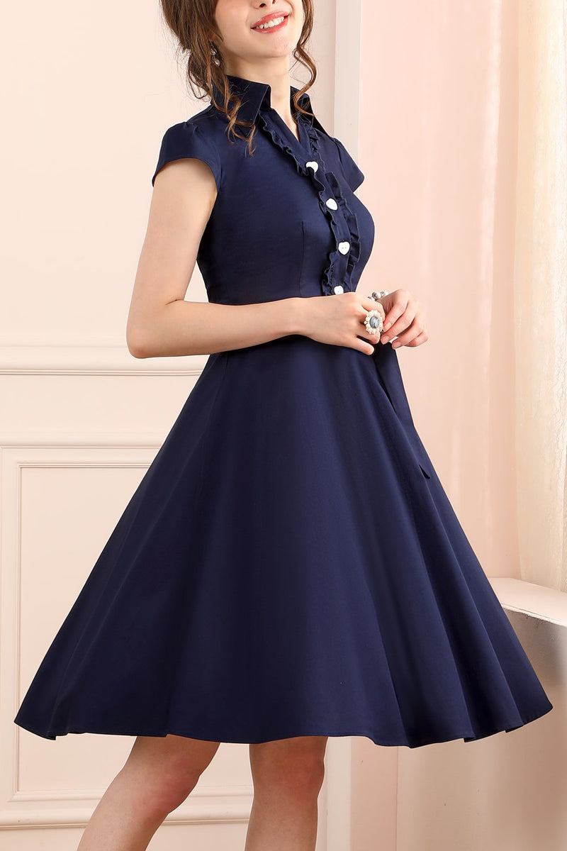 Load image into Gallery viewer, 1950s Dress Navy Swing