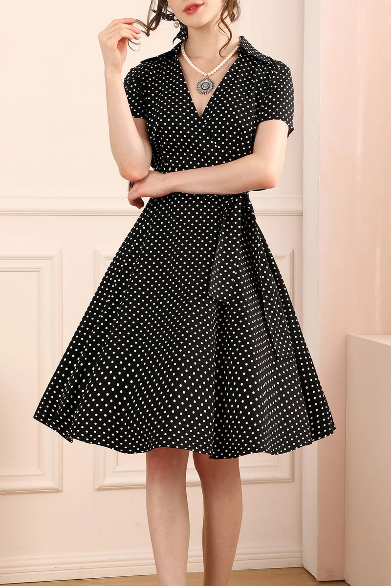 Load image into Gallery viewer, Black White Small Dots V-neck Dress
