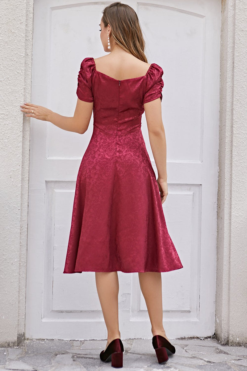 Load image into Gallery viewer, Burgundy Christmas Party Dress Short Sleeve