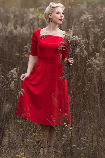Exclusive Red Dress with Pockets