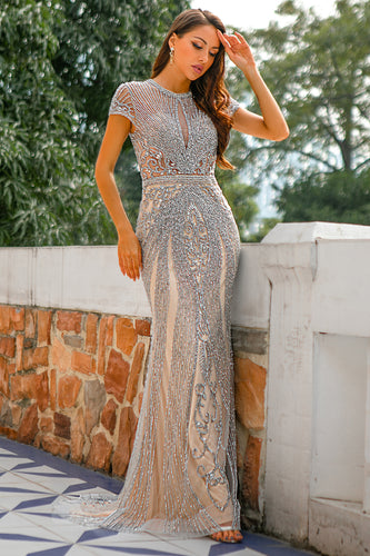 Mermaid Beaded Grey Prom Dress