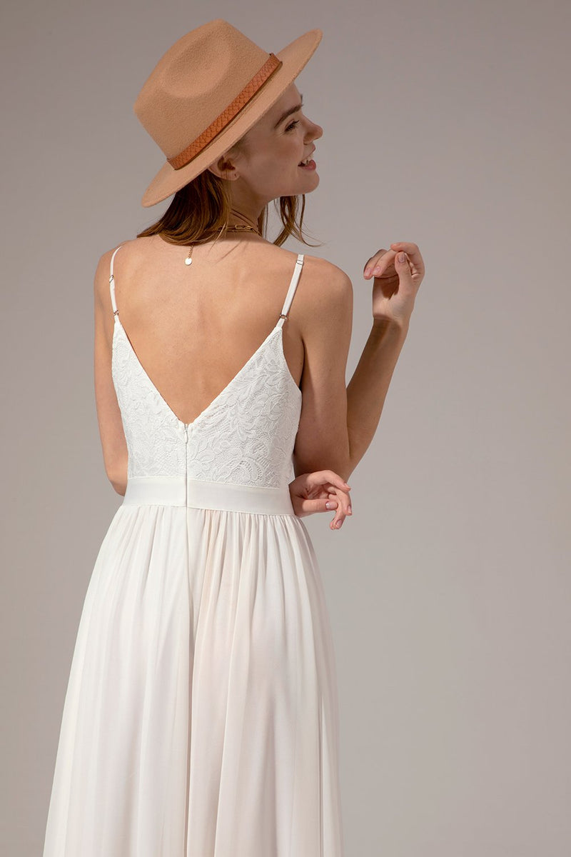 Load image into Gallery viewer, White Long Chiffon Bridesmaid Maxi Dress