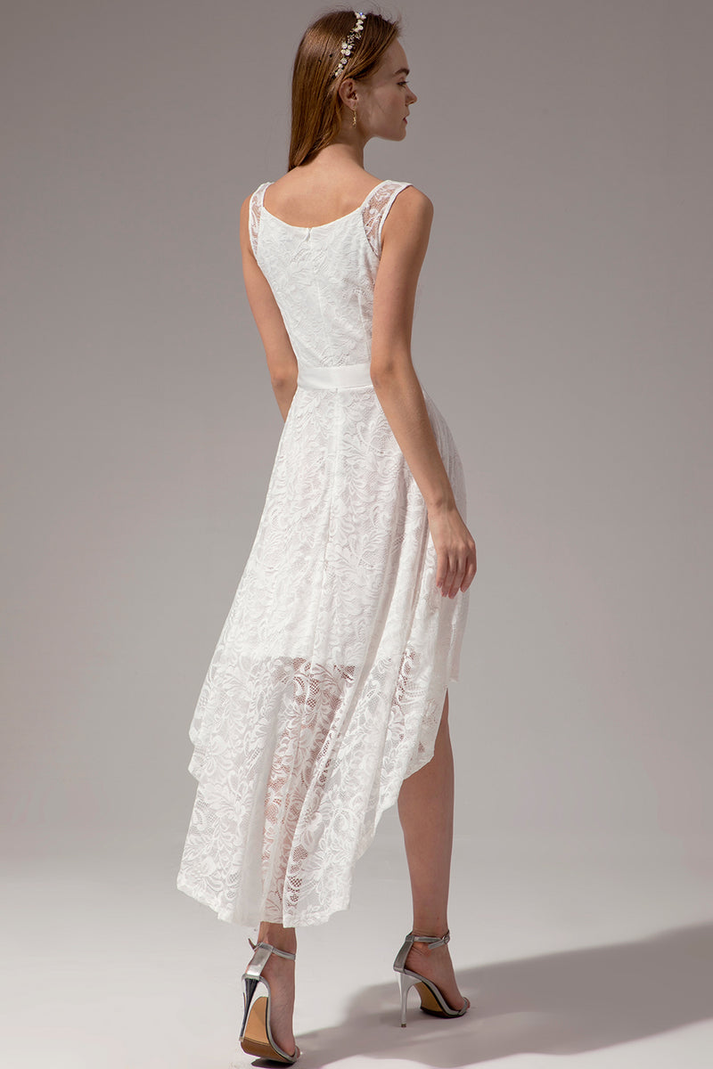 Load image into Gallery viewer, White Lace High-low Dress