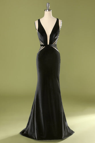 Mermaid Black Deep V Neck Prom Dress
