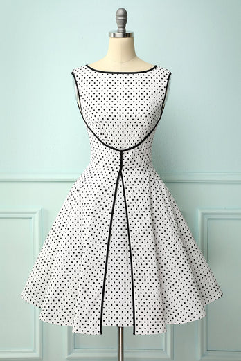 Faked Two Piece Dots Dress