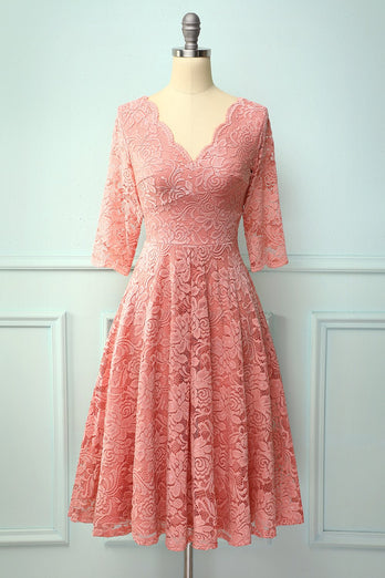 Blush 3/4 Sleeves Formal Dress