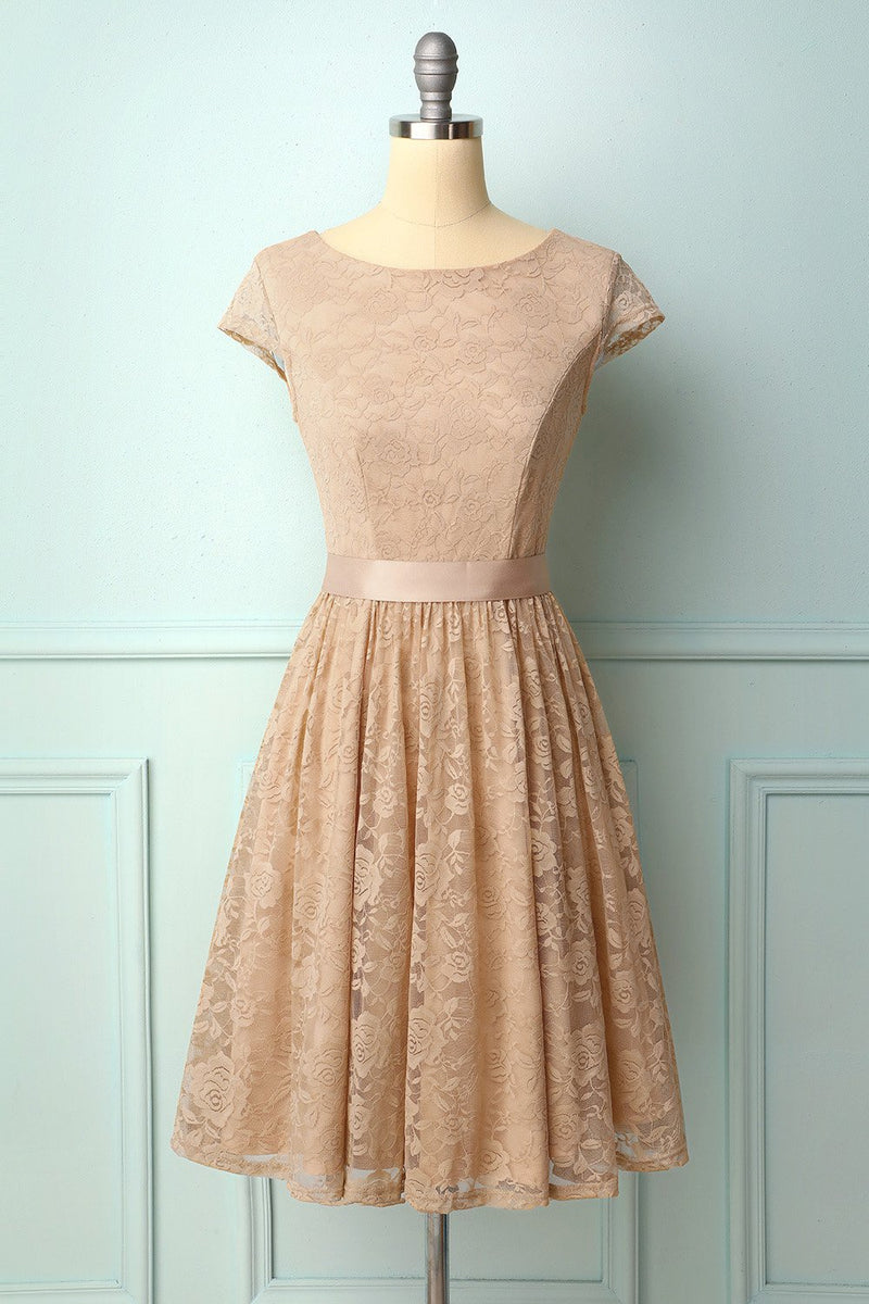 Load image into Gallery viewer, Champagne Cap Sleeves Lace Dress
