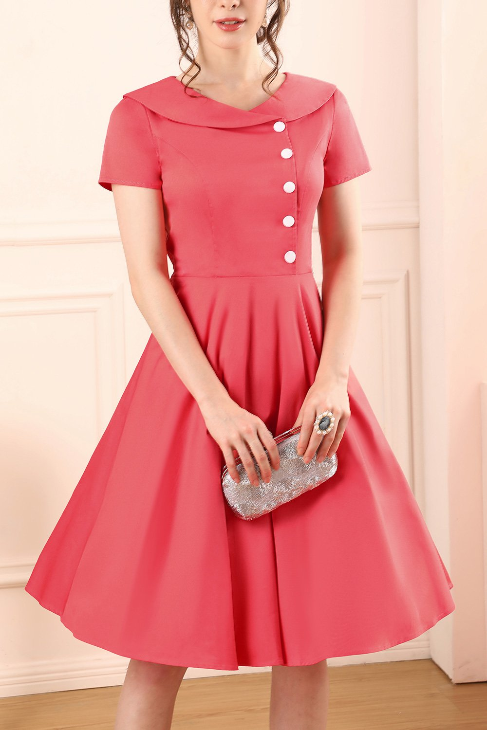 Coral Button Dress
